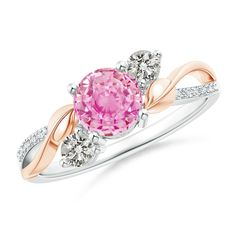 Pink Sapphire and Diamond Twisted Vine Ring in 14K White and Rose Gold (6mm Pink Sapphire)