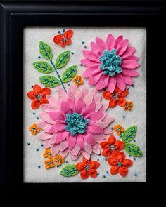 twin fibers: Felt Flower Embroidery - for sale