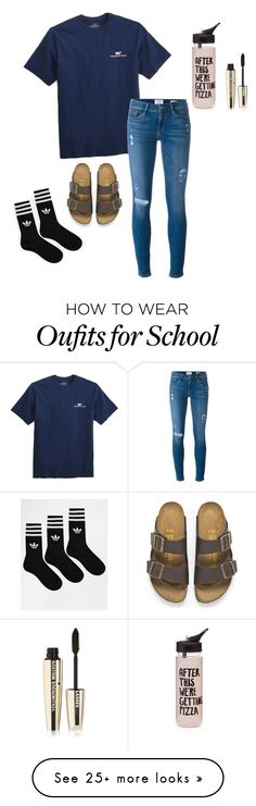 """School babe"" by carleelingard on Polyvore featuring Vineyard Vines, Frame Denim, Birkenstock, adidas, ban.do and L'Oréal Paris"