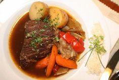 Schmorbraten, Braised Pot Roast  in Beer. Would be great with those potato dumplings.