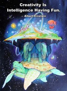 Creativity is intelligence having fun. --Albert Einstein.  'Discworld' is a wonderful invention in a series of novels by the fabulous writer Terry Pratchett....  Re-pinned and no link