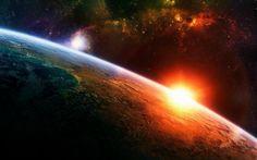 Een zonsopkomst vanuit de ruimte, met de rest van het heelal op de achtergrond