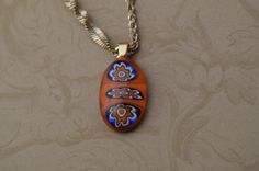 Fused Glass Necklace Millefiori Orange Blue and by norcalartglass, $13.00