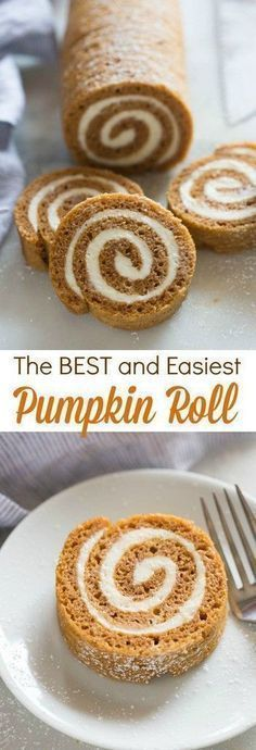 The BEST (and easiest) Pumpkin Roll! This is definitely one of my favorite easy … The BEST (and easiest) Pumpkin Roll! This is definitely one of my favorite easy pumpkin recipes! Bon Dessert, Low Carb Dessert, Oreo Dessert, Appetizer Dessert, Simple Dessert, Appetizers, Dessert Bars, Food Cakes, Fall Baking