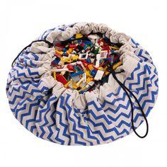 Worek na zabawki - niebieskie zygzaki