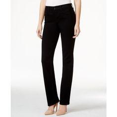 Nydj Petite 5-Pocket Straight Leg Black Jeans ($73) ❤ liked on Polyvore featuring jeans, black, nydj, petite black jeans, black jeans, nydj jeans и five pocket jeans
