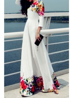Printed Floor Length White Evening Dress – joymanmall dresses casual party vacation dress vacation clothes dresses for a cruise winter vacation outfit Maxi Dress With Sleeves, Floral Maxi Dress, Manga Floral, Bohemia Dress, Maxi Robes, Women's Evening Dresses, Dress Silhouette, Types Of Fashion Styles, Dresses Online