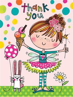 Thank You - Girl with Ice Cream - Packs of 5 - Rachel Ellen Designs – Card and Stationery Designers and Publishers Happy Birthday Cards, Birthday Greetings, Birthday Wishes, Girl Birthday, Thank You Images, Thank You Cards, Doodles, Birthday Images, Copics