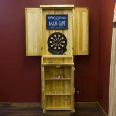 Cedar log standing dartboard cabinet