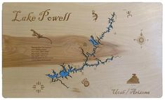 Lake Powell in Utah and Arizona - Wood Laser Cut Map Lake Powell Utah, Glen Canyon Dam, Lake Mead, Colorado River, Topographic Map, Blue Backgrounds, Laser Engraving, Arizona, Two By Two