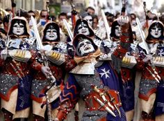 People dressed as Christian soldiers take part in a parade on the first day of traditional Moors and Christians Festival in Alcoy, near Alicante. Celebrated mainly on Spain's eastern coast, it records the Reconquest of the Iberian Peninsula, a period of 800 years in which several Christian kingdoms gradually retook the region from the Moors