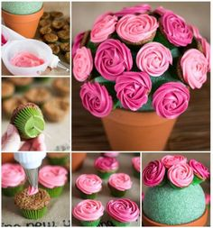 Easy Rose Cupcake Bouquet in a Pot - http://cakesmania.net/easy-rose-cupcake-bouquet-in-a-pot/