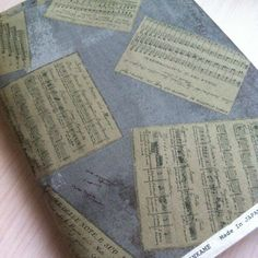 Fat Quarter- Designed by Kinkame- European Taupe EUP045 - Song Sheets in Taupe - shades of Light Blue  grey -  Made in Japan