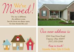 "Cute ""we've moved"" card idea! Love the cartoon and the real pic"