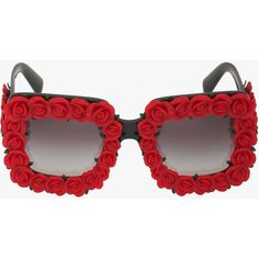 Pre-owned  Dolce & Gabbana Roses Embellished Acetate Sunglasses ($340) ❤ liked on Polyvore featuring accessories, eyewear, sunglasses, red, dolce gabbana sunglasses, rimmed glasses, red glasses, red rimmed glasses и acetate sunglasses