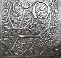 English pewter repoussework panel of a letter A entwined with oakleaves and acorns. Pewter Art, Pewter Metal, Monogram Letters, Letters And Numbers, Metal Letters, Monogram Fonts, Monograms, Glue Art, Stencils