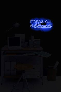 Oliver Gal Gallery 26x11 It Was All a Dream Light Blue Neon Sign