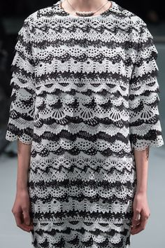 Laser cut dress with black & white patterns + texture; monochrome fashion details // Anrealage S/S 15