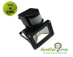Proiector cu LED  10W si senzor de prezenta , de  exterior,  IP65 10W ALB RECE Led