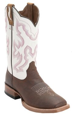 Ariat® Nitro™ Mens Weathered Brown with White Double Welt Wide Square Toe Cowboy Boots