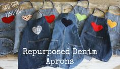 Turn the leg of an old pair of jeans into a craft apron for a crafty kid! Ours are 8 years old, and still going strong!