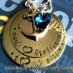 Military Jewelry - Navy - Navy Girlfriend Custom Order  - 2 Disc Stainless Steel Navy <3 Girlfriend, I <3 My Sailor Necklace with Sterling Silver Ball Chain,Navy Love Anchor & Blue Swarovski Heart  $16.00 plus shipping    www.myheroskeepsakes.com  www.facebook.com/myheroskeepsakes