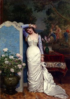 Young Woman In An Interior :: Auguste Toulmouche  - Romantic scenes in art and painting
