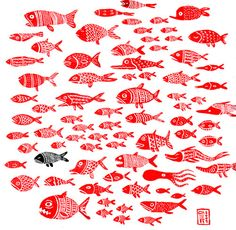 Red Fish Soup: Games for Children Simple Illustration, Pattern Illustration, Japan Illustration, Textures Patterns, Print Patterns, Deco Marine, Underwater Art, Red Fish, Fish Fish
