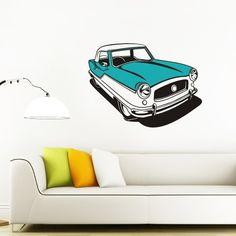 mid century car vinyl wall decal art- nash metropolitan sticker art