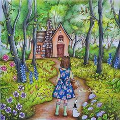 Inspirational Coloring Pages by Chris Cheng @colorvscolour #inspiração #coloringbooks #livrosdecolorir #jardimsecreto #secretgarden #blomstermandala  #adultcoloring #romanticcountry #eriy #trees