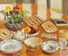 Field Flowers, Fruit and Dishes,1974, by Fairfield Porter (American, 1907-1975)