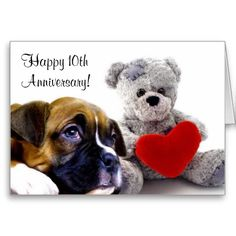 Happy 10th Anniversary Boxer Greeting card  #boxer #puppy #anniversary #greeting #cards #boxers #gifts
