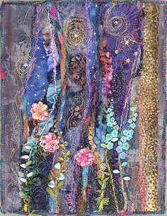 I ❤ it . . . Night Garden, small art quilt ~By molly jean hobbit