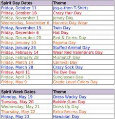 School Spirit Day ideas