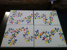 Fingerprint Christmas Light paintings! Just painted the 'cord' on, then Q did thumbprints in assorted colors and I drew on the smaller lines for lightbulb bases. Used a little 3 dollar acrylic paint sampler and the canvases came in a two-pack for 4 bucks! Easy to make, great affordable gift and turned out super cute!
