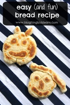 Simple, no yeast bread recipe for kids to make. No wait for dough to rise, just delicious bread you can make, mould into shapes, pan fry and enjoy - Laughing Kids Learn