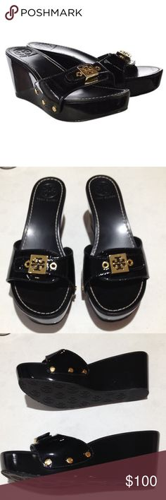 """Tory Burch Rosie Black Patent leather wedges Tory Burch """"Rosie"""" black patent leather platform wedge slides. Gold tone metal emblem & rivets. Shiny black patent leather upper & all around sides. Leather lining. Back of heel measures 3"""" tall. Size 7 printed on the underside of top strap. Only worn once. Like new condition except for a few small dents & very light scratches on patent leather sides. The worst dent is shown in last picture. Tory Burch Shoes Platforms"""