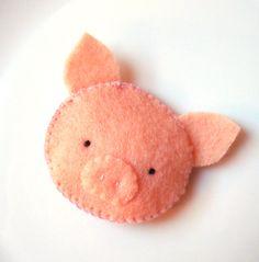 Felt Brooch Cute Pig Pin Handmade Softie Button Accessory MiKa Art. $6.99, via Etsy.