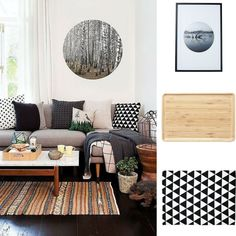 #GettheLook with @thewarehousenz!  1. Home and You Framed Art Swamp Tree 2. Harrison & Lane Serve Bamboo Platter Rectangle 3. Elemis Rug Printed Triangle Black  #thewarehousenzhacks #furniture #NewZealand  #thewarehousenz #interiors #house #styling #style #home #decor #neutral