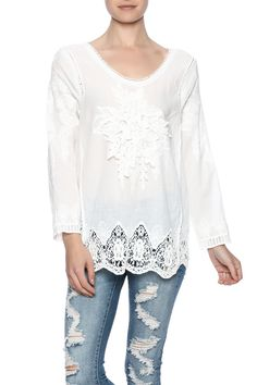 """Sweet white lace top with an appliqué flower in front with crocheted border and sleeves. One size will fit Size Small - Size Medium.    Measures: 26"""" L   Lace Flower Top by Ottoman Imports. Clothing - Tops - Blouses & Shirts Clothing - Tops - Long Sleeve Kentucky"""