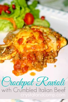 Crockpot Ravioli with Crumbled Italian Beef (cook beef first then add to crockpot)