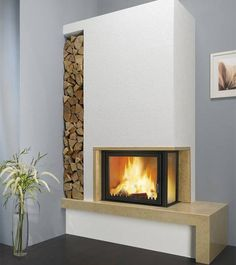 Fireplace Wall, Living Room With Fireplace, Fireplace Design, New Living Room, Küchen Design, House Design, Modern Stoves, Electric Fireplace Tv Stand, Log Burner