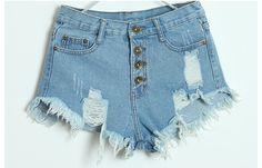 Nova verão 2014 mulheres cintura alta jeans rasgado buraco short jeans denim angústia feminina pontos de corte calções # LT429 em Shorts de Roupas e Acessórios no AliExpress.com | Alibaba Group