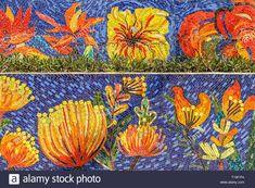 Hanoi, Colorful Flowers, Vietnam, Mosaic, Ceramics, Stock Photos, World, Floral, Illustration