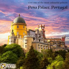 The Pena Palace is one of the finest tourist attractions of Portugal in the municipality of Sintra. It exemplifies the 19th century Romanticism style of architecture. The palace is a hedonistic mix of vividly painted terraces, decorative battlements and mythological statues, all of which stand at stark contrast to the lush greens of the forests that encircle Pena. The castle stands on the top of a hill in the Sintra Mountains above the town of Sintra.