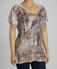 Take a look at this Mocha Peacock Sublimation Burnout Short-Sleeve Top - Plus by Urban X on #zulily today!