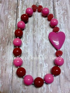 Sweetheart Pink and Red Chunky Bead by haileysbeadsandbows on Etsy, $20.00