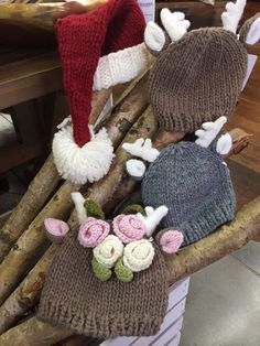 Santa and his reindeer never looked so cute! We have holiday hats to keep baby's head toasty.