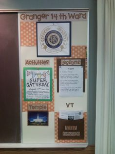 Relief Society bulletin board that I put together. I was a bit nervous about the orange, but I think it worked out nicely. I've re-printed the lesson schedule in a larger font and goes to the top of the folder and I added in a list of temple trips under the temple.