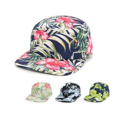 Fashion 5 Panel Camp Hat Baseball Cap Snapback Hawaii Floral Flower Leaf Goldtop #Goldtop #BaseballCap